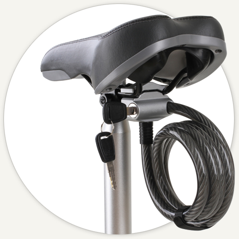 Citizen Bike Saddle Mounted Cable Lock for folding bikes.
