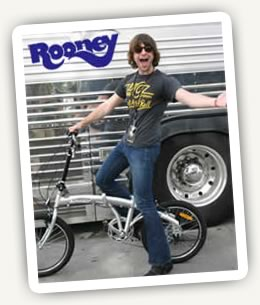 Robert Schwartzman, lead singer of Rooney with his folding bike by Citizen Bike.